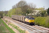 130502-037     On Thursday 2nd May the 'Boston steel' ran to the earlier path, leaving Washwood Heath at 11.31. as 6Z07 to Boston docks. Entrusted to class 47 no. 47749 Demelza, it is captured in the sun, passing Barrow upon Trent.