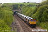 130517-015     GBRf class 66/7 no. 66732 is captured emerging from Whitwell tunnel, powering train 4Z20, 1330 Shirebrook Davis & Son to Doncaster Down Decoy, hauling a rake of twenty one new biomass hoppers, wagon type IIA.