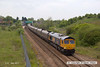 130517-004     GBRf class 66/7 no. 66714 Cromer Lifeboat passes through Whitwell powering train 4K55,1221 Cottam Power Station to Thoresby Colliery, empty coal hoppers.
