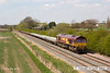130502-044     DB Schenker  class 66/0 no. 66020 passing Barrow upon Trent, powering train 6D44, 1109 Bescot Up Engineers Sidings to Toton North Yard.