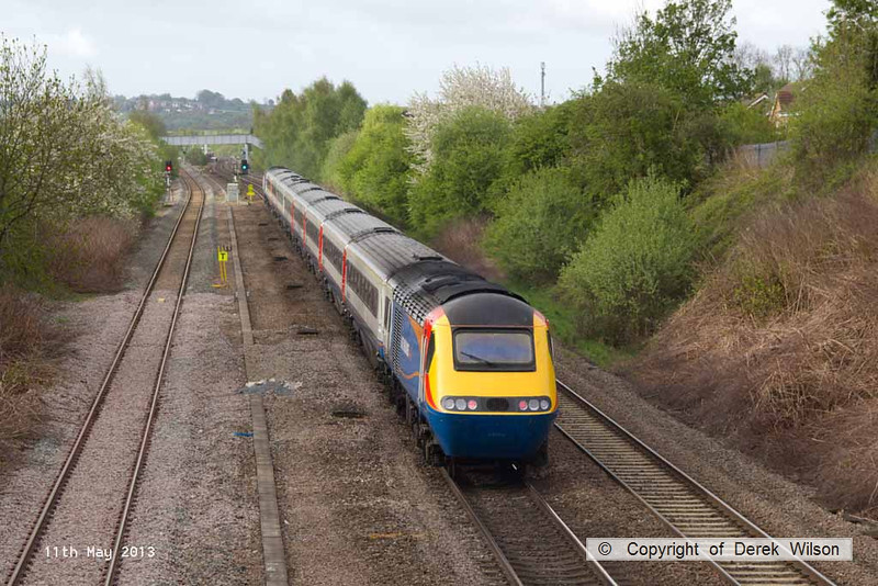 130511-001     A East Midlands Trains HST eases off as it approaches Langley Mill, it's next port of call. Nearest powercar is 43054, seen at the rear of the train.