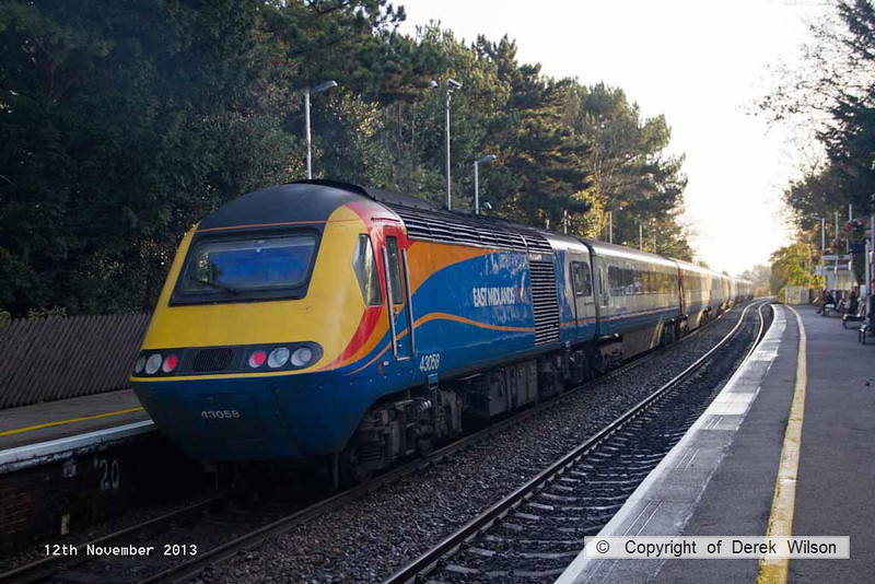131112-004    East Midlands Trains HST powercar, class 43 no 43058 is seen at Long Eaton, at the rear of 1C22, the 0741 Sheffield to St Pancras International. 43076 is in the distance, leading the train.