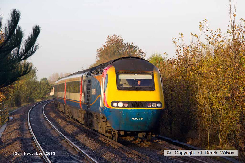 131112-002    East Midlands Trains HST powercar, class 43 no 43076 is seen arriving at Long Eaton with 1C22, the 0741 Sheffield to St Pancras International.