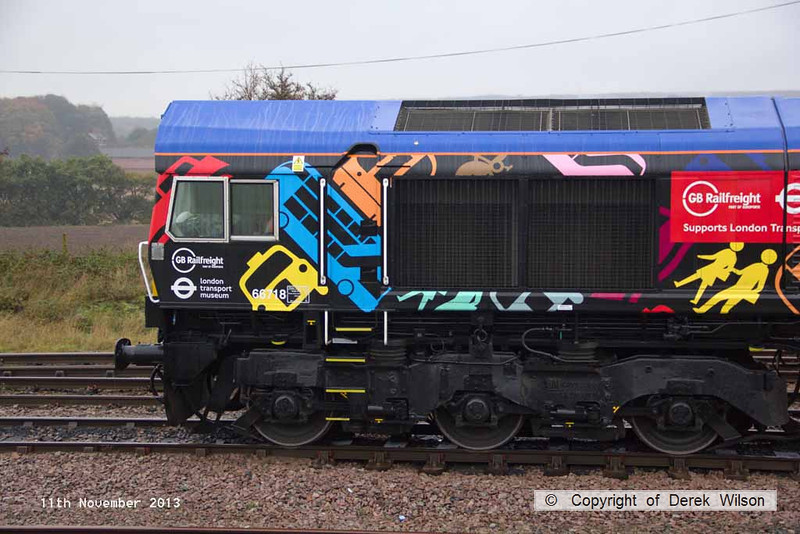 131111-003     GBRf class 66/7 no 66718 Sir Peter Hendy CBE, seen at Thoresby colliery junction.