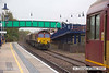131111-010     The scene at Mansfield Woodhouse on Monday morning, 11th November. Just one freight train booked through the station that day, plus the RHTT, and what happens, they turn up at the same time!! The oncoming train is DBS class 66 no  66043 powering 6Z38, the 06.45 Immingham (Humber International Terminal) to Ratcliffe power station running 38 minutes down, and just coming into the shot is 66140 leading the RHTT to Shirebrook, and is 69 minutes behind schedule!!. Unbelievable!!