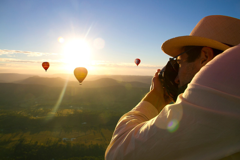 Hot Air Balloon Gold Coast Brisbane Man with hat taking picture_lge