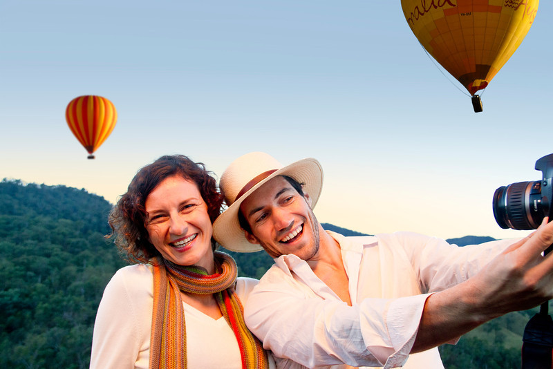 Hot Air Balloon Gold Coast Brisbane Couple With Camera Photo of selves_lge