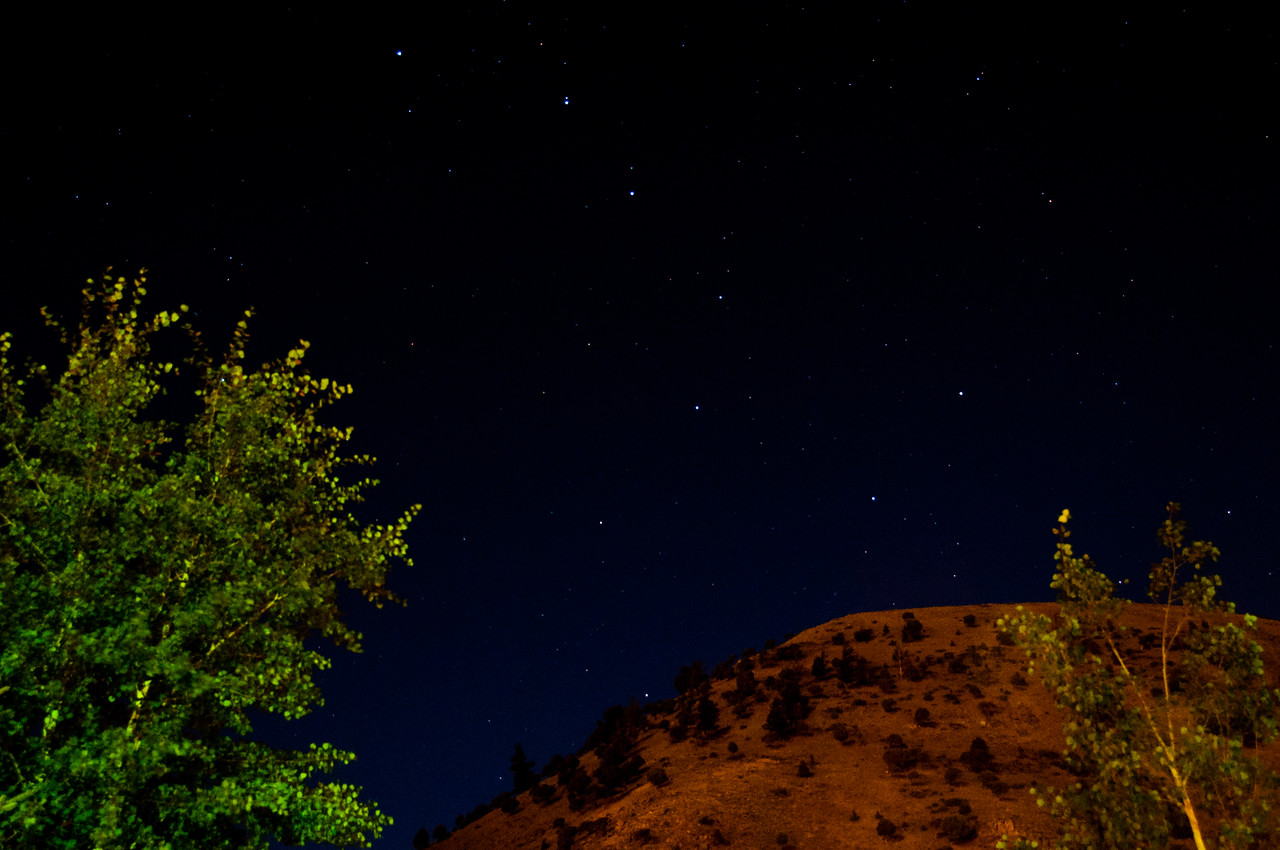 Big Dipper constellation over hillside behind Rustic Inn at Jackson, WY.