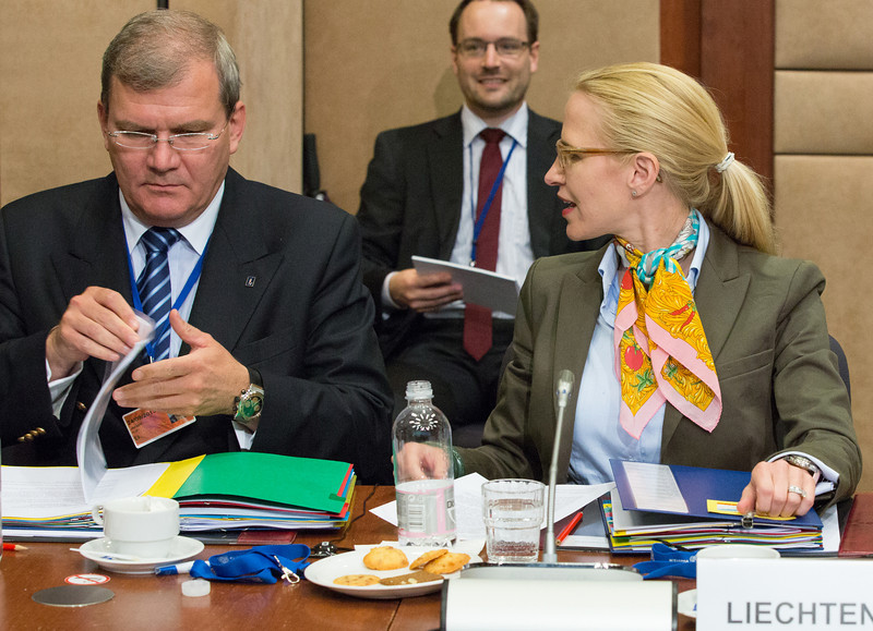 The EEA Council 21 May 2013. From left: Ambassador Kurt Jaeger, Mission of Liechtenstein to the EU;  Aurelia Frick, Minister of Foreign Affairs, Liechtenstein  (Photo: EFTA)