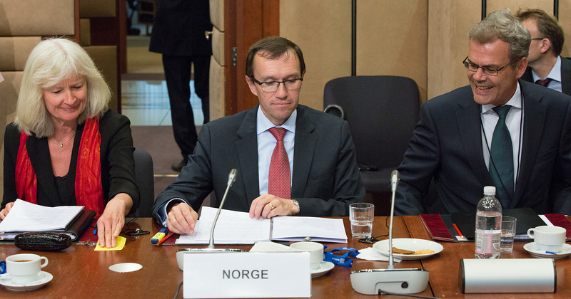 The EEA Council 21 May 2013. From left: Director-General Elisabeth Walaas and Minister Espen Barth Eide, the Ministry of Foreign Affairs, Norway;  and Ambassador Atle Leikvoll, Mission of Norway to the EU (Photo: EFTA)