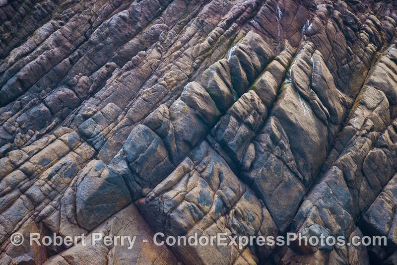Sea cliff rock formations on the northwest coast of Santa Cruz Island.