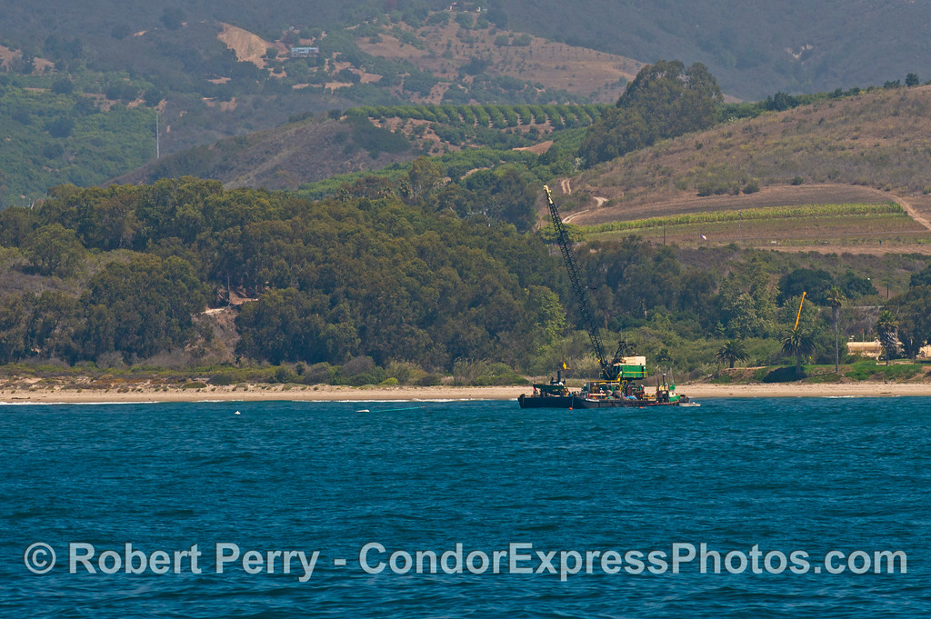 A crane barge near the beach - western Santa Barbara coast.