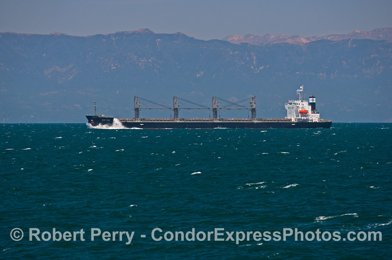 The northbound bulk carrier vessel Sikyon is seen with the Santa Ynez mountains in back.