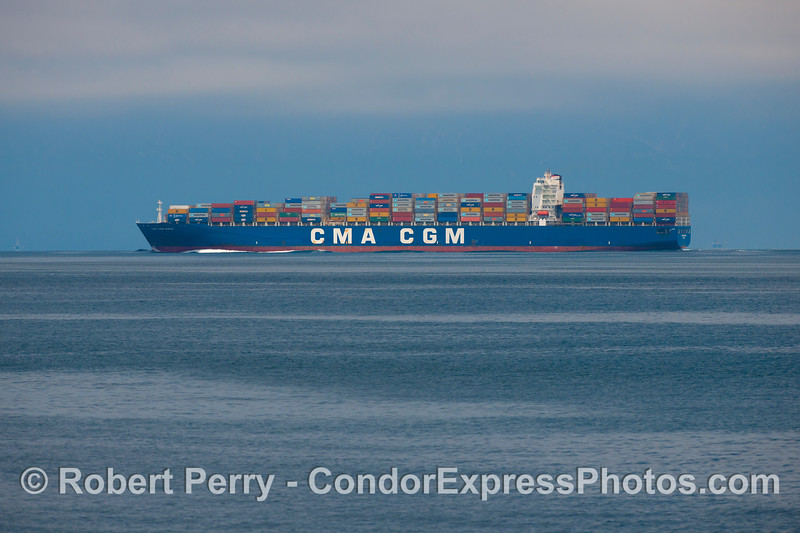 "CMA SGM Norma is a 1,145 foot long, 10,711 gross ton container ship.  You can track its location (as of July 23, 2013) at:<br /> <a href=""http://www.marinetraffic.com/ais/default.aspx?mmsi=228348900&centerx=-122.311&centery=37.79495&zoom=10&type_color=7"">http://www.marinetraffic.com/ais/default.aspx?mmsi=228348900&centerx=-122.311&centery=37.79495&zoom=10&type_color=7</a>"