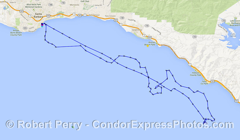 Our track across the coastal waters today.