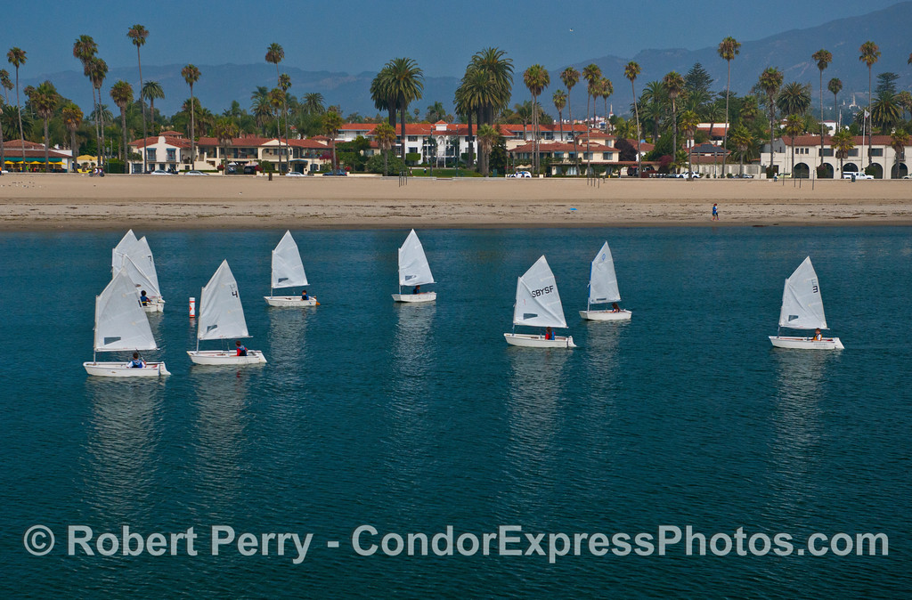 Youth sailing in Santa Barbara Harbor.