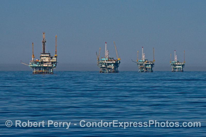From left to right we see offshore oil platforms Hillhouse, A, B and C.