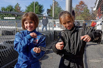 Anya & Cailyn at the Little T track at the Thompson Motor Speedway
