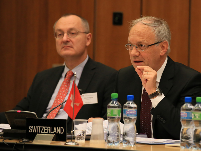 From left: Mr Didier Chambovey, Ambassador and Delegate of the Swiss Federal Council to Trade Agreements, Head World Trade, State Secretariat for Economic Affairs; and Mr Johann N. Schneider-Ammann, Federal Councillor, Head of the Federal Department of  Economic Affairs, Education and Research, Switzerland.