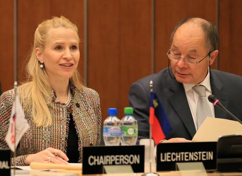 Ms Aurelia Frick, Minister of Foreign Affairs, Liechtenstein, chairing the EFTA Ministerial meeting in Geneva on 18 November 2013; and Mr Norbert Frick, Ambassador, Mission of Liechtenstein to EFTA and WTO