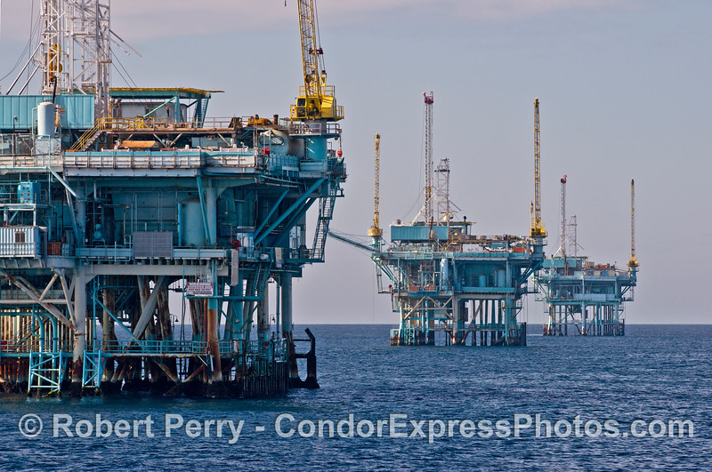 Offshore oil platforms C, B, and A in the Santa Barbara Channel.