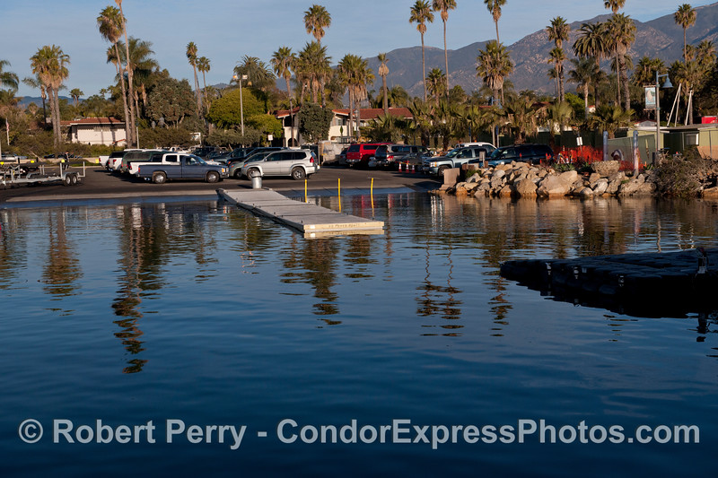 King Tides:  high tide - launch ramp and rocks Santa Barbara Harbor.