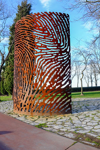 """Civil War Memorial by Juanjo Novella, Bilbao  """"Combatants for Democracy and Freedom"""" is dedicated to those that defended the Spanish republic against the nationalist uprising at the outbreak of the Spanish Civil War.   It is a metal abstraction of a fingerprint on Monte Artxanda by artist Juanjo Novella in 2006."""