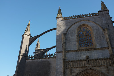 Light flying buttresses of the basilica in Leiketio