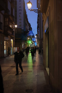 Streets of San Sebastian's old town, Narrica Kalea, with Christmas alight at twilight