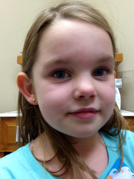 Anna got her ears pierced for her birthday