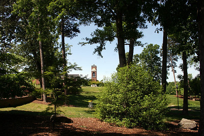 View of the belltower on a summer day.