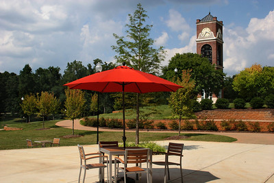 Patio at the Tucker Student Center at Gardner-Webb University on a beautiful fall day.