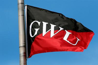 Gardner-Webb University flag waving in the wind on a beautiful fall day at Gardner-Webb University.