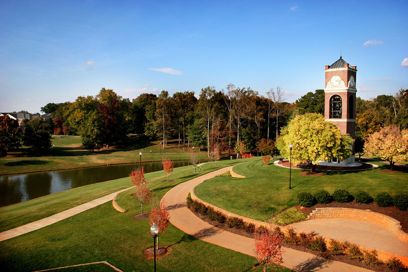 A view of the Hollifield Carillon (bell tower) and Lake Hollifield on a beautiful Fall day at Gardner-Webb University.
