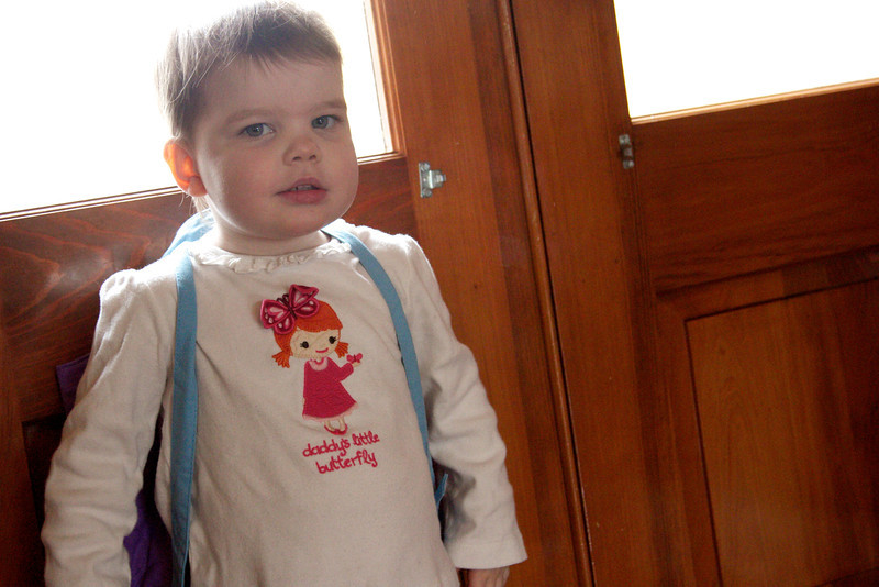 Ellen's first day of school - she was so excited to have her very own backpack!