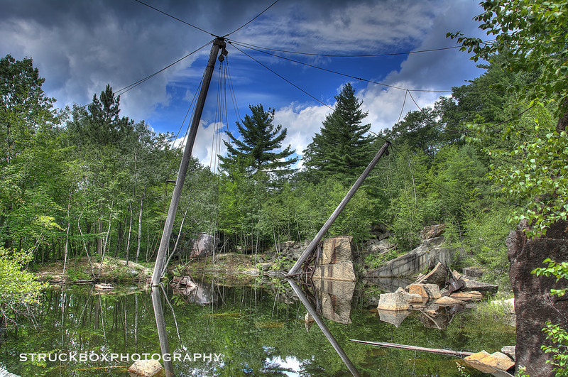 The Quarry Pit, and what's left of the booms<br /> Abandoned Redstone Quarry, North Conway NH<br /> Operated from 1887 to 1948