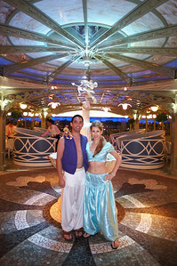 Day 4 - Abu, Aladdin & Jasmine at the Enchanted Garden restaurant (onboard) (photo by waiter)