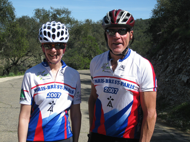 Susie and Bob on the top of Drum Canyon - coincidental matching jerseys