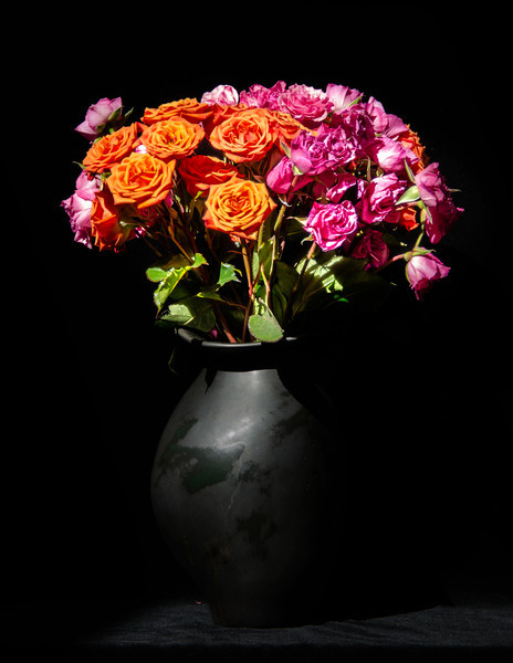 Pink and Orange roses on the counter