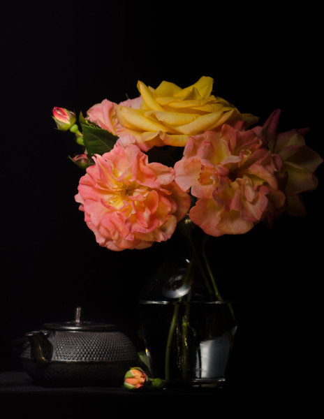 "Studio Roses with Teapot<br /> More fun playing with lighting in my ""studio"" dining room."