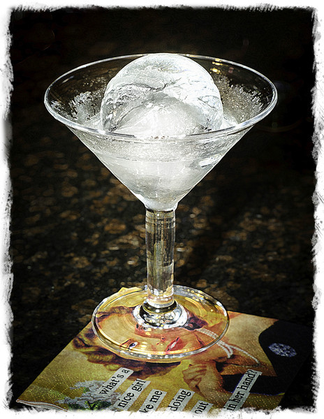 Martini with giant ice cube