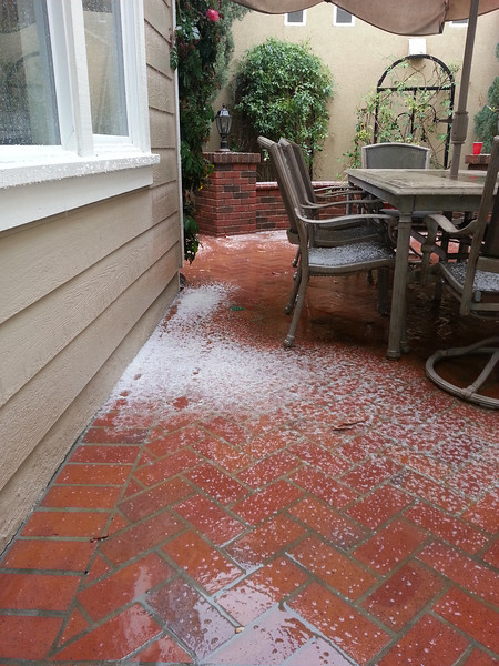 Hail stones on a patio in Ladera Ranch, March 8, 2013
