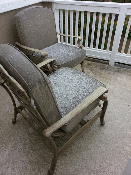 Hail stones cover patio chairs in Ladera Ranch, March 8, 2013