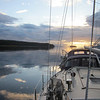 Anchored at sunset in Vixen Inlet just north of Ketchikan, Alaska.