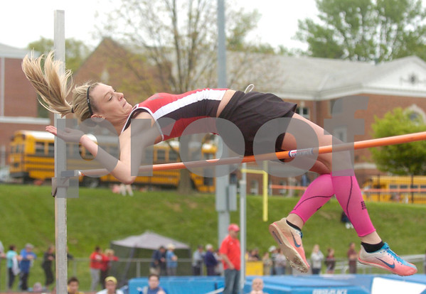 Erica Galvin/NEWS<br /> Mohawk's Paige Crist clears the bar during the high jump event.