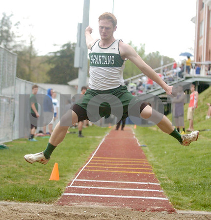 Erica Galvin/NEWS<br /> Laurel's James Steele performs in the long jump event.