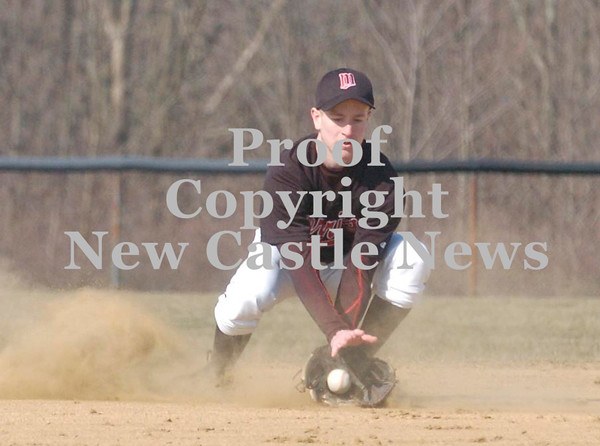 Erica Galvin/NEWS<br /> Mohawk's Luc Tyler fields a ground ball in the third inning.