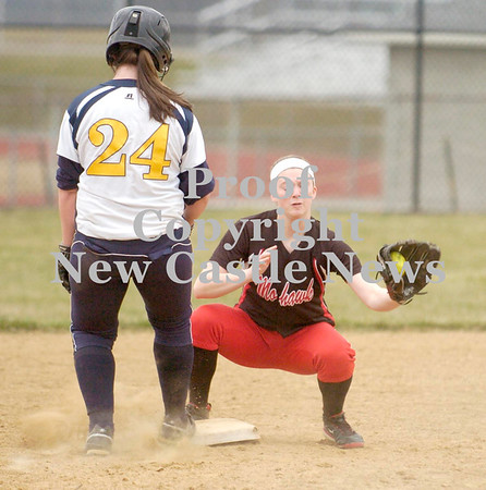 Erica Galvin/NEWS<br /> Mohawk's Devon Giancola attempts to pick off Shenango's Kim Burdett.