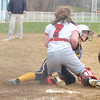 Erica Galvin/NEWS<br /> Neshannock catcher Missy Kirkwood blocks the plate and tags out Wilmington's Aryn Boyer.