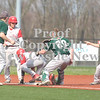 Erica Galvin/NEWS<br /> Laurel catcher Spencer Pullimum tags out Neshannock base runner Marcus Giangiuli after get caught in a run down, although the other Neshannock baserunner Frank Fraschetti already advanced to third base.